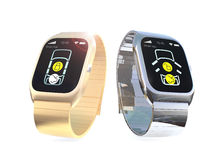 Gli orologi di Smart con il app per la serratura di porta dell'automobile e sbloccano Fotografie Stock