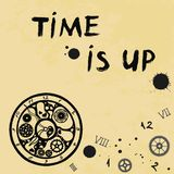 Gli orologi nello stile vittoriano con il tempo dell'iscrizione è su, su vecchio fondo di carta, disegnato a mano Illustrazione d illustrazione vettoriale