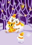 Gli orsi danno ad orso un regalo nel Natale della foresta leggiadramente illustrazione vettoriale