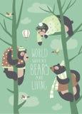 Gli orsi divertenti stanno sedendo sugli alberi illustrazione di stock