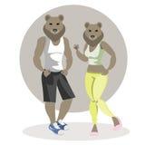 Gli orsi equipaggiano e donna illustrazione vettoriale