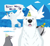 Gli orsi polari, un pinguino e una guarnizione celebrano il giorno dell'orso polare Immagine Stock