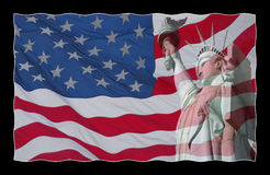 Gli S.U.A. diminuiscono e statua della libertà immagine stock