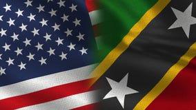 Gli S.U.A. e bandiere realistiche di Saint Kitts e Nevis mezze insieme illustrazione vettoriale