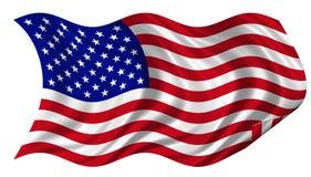 Gli S.U.A. inbandierano billowing sulla priorità bassa bianca Fotografie Stock Libere da Diritti
