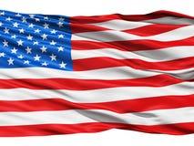 Gli S.U.A. inbandierano l'ondeggiamento nel vento. Immagine Stock