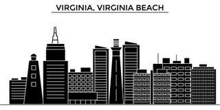 Gli S.U.A., la Virginia, orizzonte della città di vettore di architettura di Virginia Beach, paesaggio urbano di viaggio con i pu Fotografia Stock Libera da Diritti