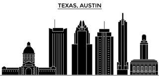 Gli S.U.A., orizzonte della città di vettore dell'architettura di Texas Austin, paesaggio urbano di viaggio con i punti di riferi royalty illustrazione gratis