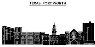 Gli S.U.A., orizzonte della città di vettore dell'architettura di Texas Fort Worth, paesaggio urbano di viaggio con i punti di ri royalty illustrazione gratis