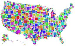 Gli S.U.A. in un mosaico di colore Fotografie Stock