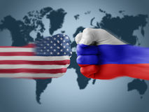 Gli S.U.A. x Russia Immagine Stock Libera da Diritti