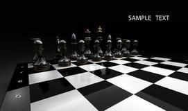 Gli scacchi neri su un 3d nero rendono Fotografia Stock Libera da Diritti