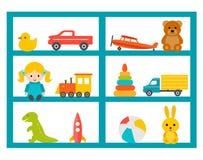 Gli scaffali con i giocattoli dei bambini mettono, vector l'illustrazione Immagini Stock