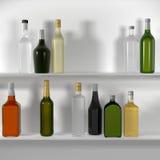 Gli scaffali della barra con le bottiglie Immagini Stock Libere da Diritti