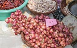 Gli scalogni, aglio, hanno asciugato i peperoncini rossi nel mercato Fotografia Stock Libera da Diritti