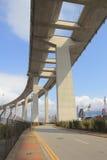 Gli scalpellini gettano un ponte su e la strada principale di sha di Tsing Immagini Stock Libere da Diritti