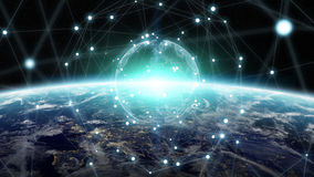 Gli scambi di dati e della rete globale sopra il pianeta Terra 3D si strappano Fotografie Stock Libere da Diritti
