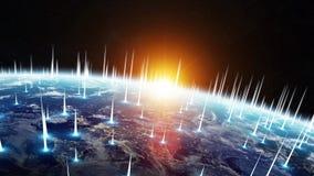 Gli scambi di dati e della rete globale sopra il pianeta Terra 3D si strappano Immagine Stock