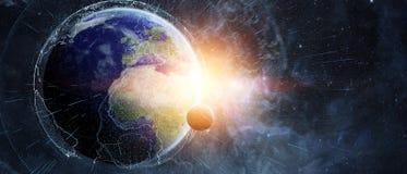 Gli scambi di dati e della rete globale sopra il pianeta Terra 3D si strappano Fotografia Stock