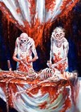 Gli scheletri spendono l'aborto sanguinante Immagine Stock