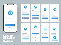 Gli schermi di connessione differenti compreso creano il conto, firmano in e firmano sulle caratteristiche per i Apps mobili illustrazione vettoriale