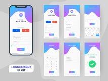 Gli schermi di connessione differenti compreso creano il conto, firmano in e firmano sulle caratteristiche per i Apps mobili royalty illustrazione gratis