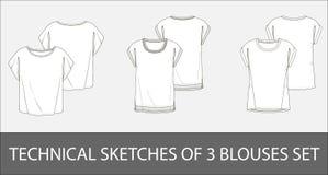 Gli schizzi tecnici di 3 bluse illustrazione vettoriale