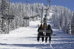 Gli sciatori di festa guidano la sedia Paradise al passaggio bianco Ski Area, Stato del Washington fotografie stock libere da diritti