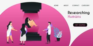 Gli scienziati che ricercano gli esseri umani con tecnologia avanzata in laboratorio il concetto dell'illustrazione di vettore, p royalty illustrazione gratis
