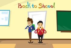 Gli scolari entrano nella stanza di classe di nuovo all'insegna di istruzione scolastica illustrazione vettoriale