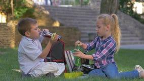 Gli scolari mangiano i panini e bevono il succo dalle bottiglie durante il tempo del pranzo che si siede sull'erba in cortile del archivi video