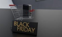 Gli sconti sul concetto di Black Friday telefonano, rappresentazione 3d Immagine Stock Libera da Diritti