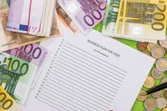 gli scopi di 2018 nuovi anni con l'euro, penna Fotografie Stock Libere da Diritti