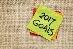 Gli scopi di 2017 nuovi anni sulla nota appiccicosa Fotografie Stock