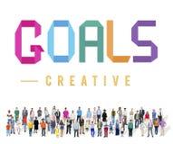Gli scopi tendono il concetto Motivative di ispirazione della visione dell'obiettivo immagini stock