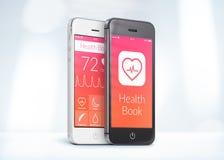 Gli smartphones in bianco e nero con la sanità prenotano il app sull'SCR Immagine Stock Libera da Diritti