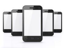 Gli smartphones neri su priorità bassa bianca, 3d rendono Fotografia Stock Libera da Diritti
