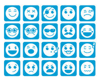 Gli smiley affronta le icone di vettore in bottoni blu piani quadrati con le emozioni Immagine Stock Libera da Diritti