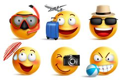 Gli smiley vector l'insieme con l'estate e viaggiano attrezzature Emoticon sorridente del fronte royalty illustrazione gratis