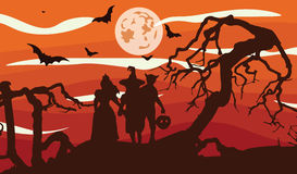 Gli spaventapasseri profilano al tramonto illustrazione vettoriale
