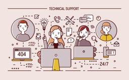Gli specialisti online amichevoli che indossano le cuffie con i microfoni si siedono ai monitor del computer ed i clienti di risp Fotografia Stock