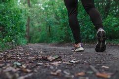 Gli sport calza la camminata o pareggiare sull'erba verde, funzionamento del paese trasversale del corridore dell'uomo sulla trac Fotografia Stock Libera da Diritti