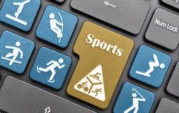 Gli sport chiudono a chiave sulla tastiera Fotografia Stock Libera da Diritti