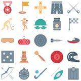 Gli sport e le icone di vettore isolate gioco consiste medaglia, hockey, gamepad, bandiera e molto, uso speciale per i progetti d illustrazione vettoriale