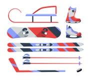 Gli sport invernali obiettano, raccolta dell'attrezzatura, icone di vettore, stile piano Immagine Stock
