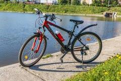 Gli sport vanno in bicicletta su un'erba verde vicino ad un lago della città Fotografie Stock Libere da Diritti