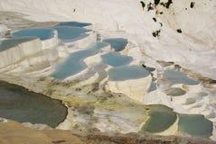 Gli stagni di acqua a terrazze del carbonato di calcio di Pamukkale, Immagini Stock