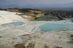 Gli stagni di acqua a terrazze del carbonato di calcio di Pamukkale, Immagine Stock