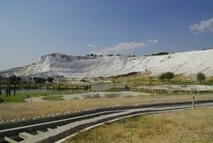 Gli stagni di acqua a terrazze del carbonato di calcio di Pamukkale, Immagine Stock Libera da Diritti