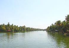 Gli stagni nel Kerala hanno catturato dalla casa galleggiante, India Fotografia Stock Libera da Diritti